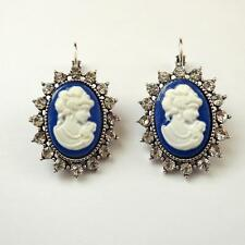 WOMEN'S EARRINGS C. SILVER With Blue Cameo Woman Face White Crystals  232 V