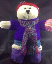 Starbucks Barista Winter Girl Bear Plush Jeans Scarf Sweater Purple Coffee Tags