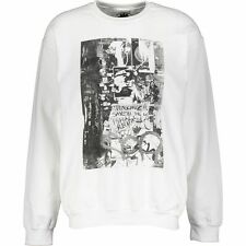 Designer BOLONGARO TREVOR White Black Graphic Print Sweatshirt / Jumper size L