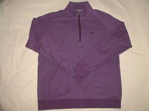 TRAVIS MATHEW Pullover Jacket,Medium,1/4 Zip,Purple,2 pockets,Cotton Poly,X-Cond