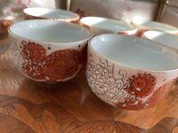 Rare Vintage Fujita Kutani Japanese Tea Cups  Made in Japan