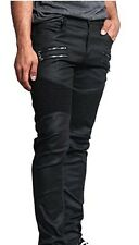 BIKER Jeans for Men Very Stretchy Front Zipper Wax Coated DL1030