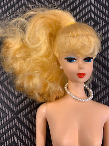 Repro 1958-1993 Barbie Ponytail Yellow Blonde w Pearl Necklace ~ Button Earrings