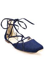 Nine West Blue Denim Zip Lace Up Square Toe Ballet Flats Size 8.5 New