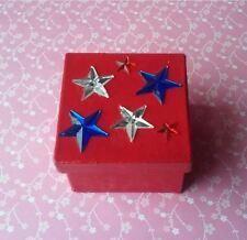Handmade Red White & Blue Paper Mache Trinket Box Handpainted Stars Americana