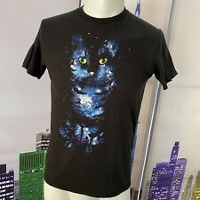 Space Galaxy Stars Cat Hybrid Apparel Graphic T Shirt Medium Tee Shirt
