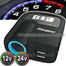 Energizer 12v 24v el encendedor del coche Twin Usb Y Digital De Voltaje Adaptador De Monitor