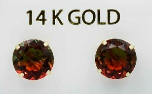 TOURMALINE 3.58 Cts STUD EARRINGS 14K  GOLD * New With Tag *