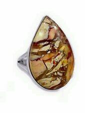 Solid 925 Sterling Silver Brecciated Jasper Crystal Gemstone Ring (Sz 8 / P)