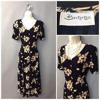 Berkertex Navy Floral Buttoned Down Retro Dress UK 12 EUR 40 US 8