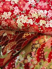 3 Large  Fat Quarters Japanese Red Koi Carp Floral Gold Luster Cotton
