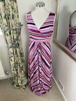 Mantaray Size 14 pink striped cotton maxi dress summer beach holiday VGC