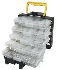 Rolson DIY Tote Box Tray Organiser 5 Trays 1000 Assorted Fixtures Screws Hooks