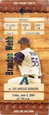 Ticket Baseball Arizona Diamondbacks 2004 - 6/4 - Los Angeles Dodgers