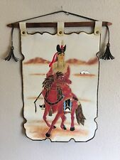 Vintage Leather Art Wall Hanging - Native American Indian on Horse Embossed Dyed