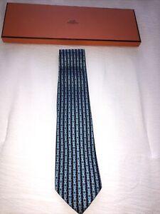 NEW IN BOX HERMES TIE 5412 OA Equestrian Buckle Blue Classic Silk Necktie