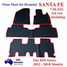 Waterproof Rubber Floor Mats Tailored For Hyundai Santa Fe 7 seats 2012 - 18 Red