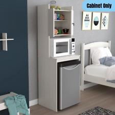 Modern Mini Refrigerator Microwave Cart Cabinet 2-Door Storage Pantry Organizer