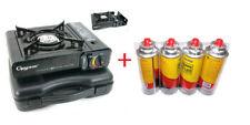 Portable Butane Gas Stove Range + 4 Butane Gas Can Bottle Combo Set Camping Cook