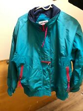 Vintage 90s Cabin Creek Windbreaker Sz. LARGE Turquoise Hot Pink Blue Lined