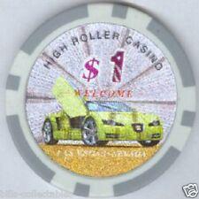 5 pc 5 colors 11.5 gm Laser Cars poker chip samples set #79