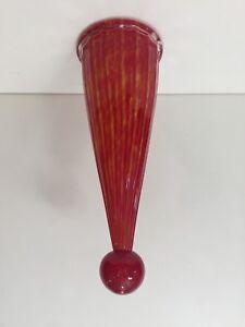 "Murano Bavai Conicity Art Glass Red & Yellow Pendant Light Shade, 13 1/2"" Tall"