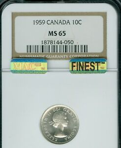 1959 CANADA 10 CENTS NGC MS-65 BLAST WHITE MAC FINEST GRADED MAC SPOTLESS  .