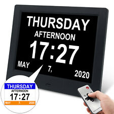 "7.5"" Dementia Alarm Clock Digital Calendar Day Clock Desk/Wall Clock Led Display"
