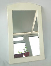 SHABBY CHIC DISTRESSED CREAM CHALK PAINT&VARNISHED WOODEN PINE RECTANGLE MIRROR