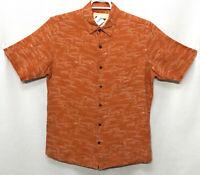 Mens Vintage Silk Large Orange Geometric Short Sleeve Button Front Shirt