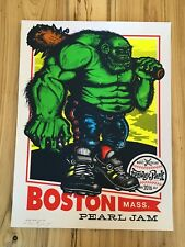 """2016 Pearl Jam Fenway """"Green Monster"""" Ames Poster Artist Signed Numbered x/315"""