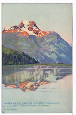 Vintage Postcard Summer in Canton Grisons Switzerland Lakes Mountains Unused