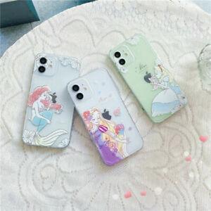 For iPhone 12 11 Pro Max XS XR X 7 8+ Cute cartoon princess clear tpu phone case