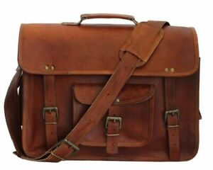 Satchel Bag Computer Genuine Vintage Leather Messenger Business Briefcase
