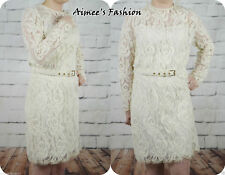 NEXT UK 14 CREAM VINTAGE LACE BELTED LONG SLEEVE LACE DRESS