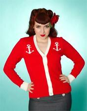 ANCHOR RED CARDIGAN - Nautical Sailor Halloween Retro style 8 10 12 14 16 18