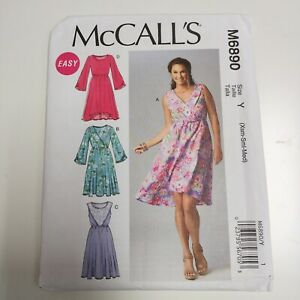 McCall's 6890 M6890 Womens Easy Pullover Dress Pattern NEW Uncut XS - Med