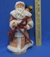 Christmas Santa Figurine On Stand Paper Robe St Nicholas