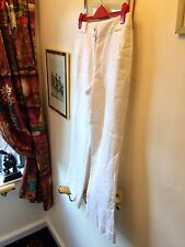 "New M&S Per Una White Linen Summer Trousers,32"",UK14/Med"