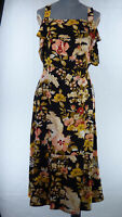 WAREHOUSE Black Floral Print Fit & Flare Midi Dress Wide Strap Frilled UK 14