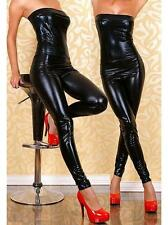 BLACK Women Bodysuit Catsuit Lingerie Wetlook High Shine PU Bodycon Jumpsuit
