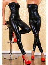 Sexy BLACK Wet Look Bodysuit Catsuit High Shine PVC PU Body con Jumpsuit 8 - 10