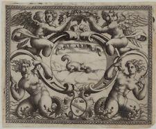 Engel + EICHHÖRNCHEN Rollwerk RENAISSANCE Original Kupferstich 1560 Kunst Adel