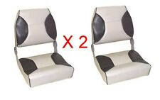 Axis Deluxe Padded Folding Boat Seats - Grey/Charcoal X 2