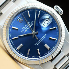 ROLEX MENS DATEJUST QUICKSET 18K WHITE GOLD & STAINLESS STEEL BLUE DIAL WATCH