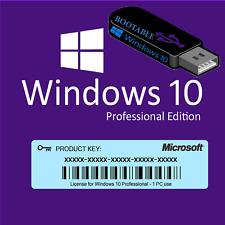 Microsoft Windows 10 Pro Usb Drive 32/64 Bit Full Newest Version(Brand New)+ Key