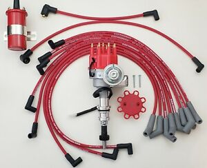 FORD 289 302 SMALL CAP HEI DISTRIBUTOR  + COIL + 8.5mm RED SPARK PLUG WIRES