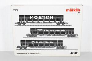 Märklin 47142 H0 AC Rungenwagen-Set mit Röhren der DB, Ep. V, OVP (MM197)