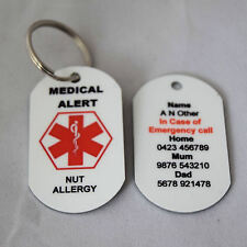 Personalised Medical Alert Keyring for Nut Allergy