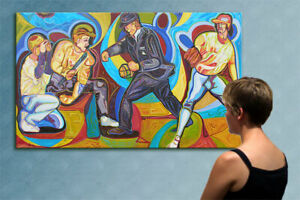 """78"""" -MLB - BASEBALL GAME ---- original cubist painting oil on canvas by ANNA"""